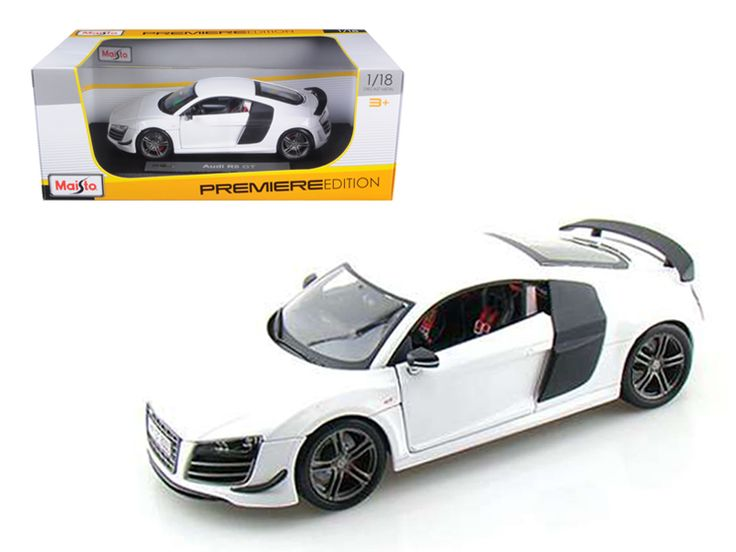 Audi R8 GT White 1/18 Diecast Model Car by Maisto - Brand new 1:18 scale diecast model car of Audi R8 GT White die cast model car by Maisto. Has steerable wheels. Item Number: 36190. Brand new box. Rubber tires. Has opening hood, doors and trunk. Made of diecast with some plastic parts. Detailed interior, exterior. Dimensions approximately L-10, W-4, H-3.5 inches. Please note that manufacturer may change packing box at anytime. Product will stay exactly the same.-Weight: 4. Height: 8. Width…