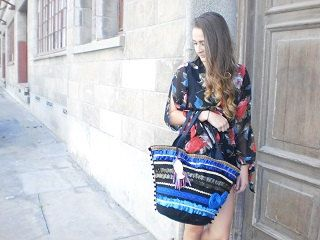 Ladies Designer handmade handbag, Summer Beach Bag, bohemian, summer tote,  Spanish frills, ladies handbag, Blue black and gold satin trim