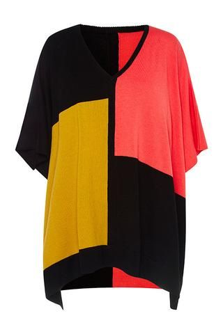 Super soft Poncho in polyester / acrylic / nylon / wool blend. Loose fit with V neck, great for layering over shirts or tunics. Available in Black or Multi colour.