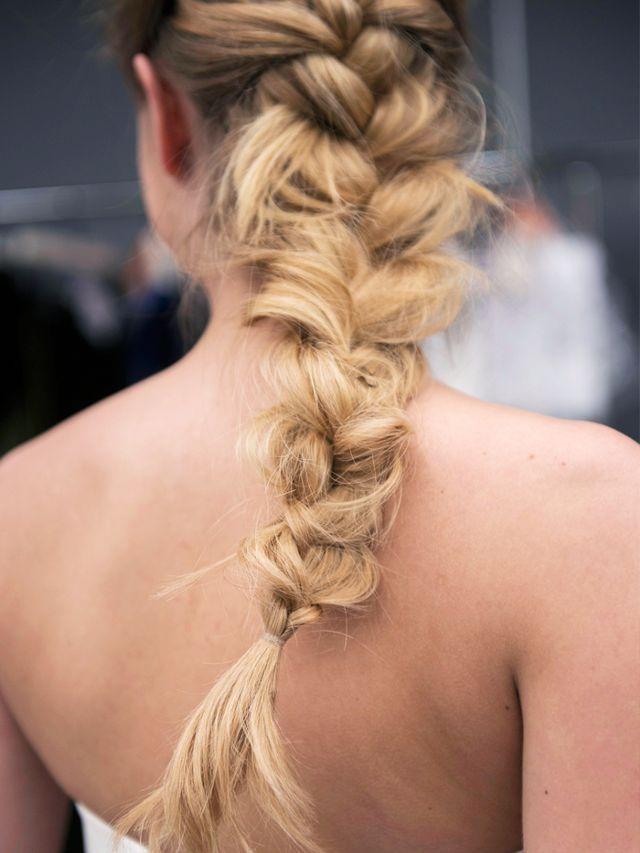 5-minute hairstyles for long hair: Loose Pancake Braid