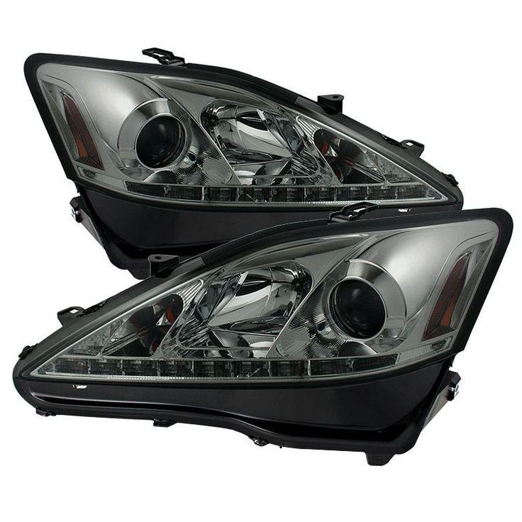 Spyder 2006-2010 Lexus IS350 IS250 Projector Headlights DRL - Black Smoke - Set of 2 (PRO-YD-LIS06-DRL-BSM)