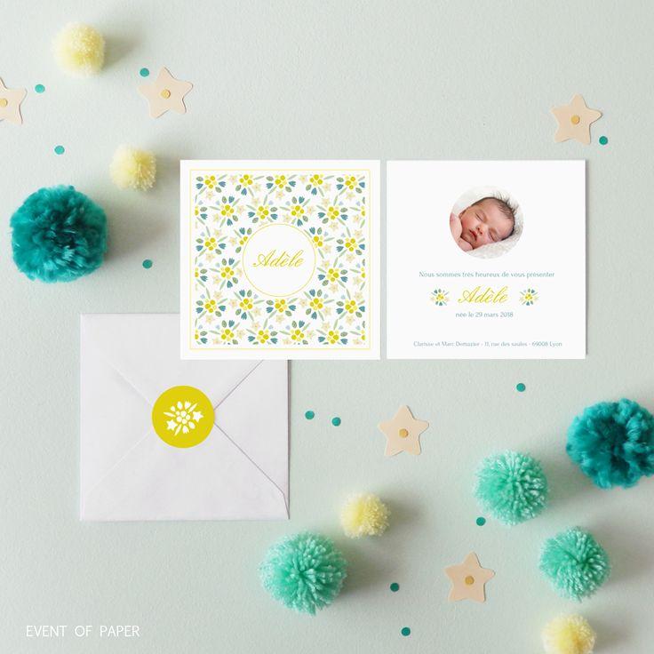 Faire-part de naissance photo fleurs printani�res ADELE