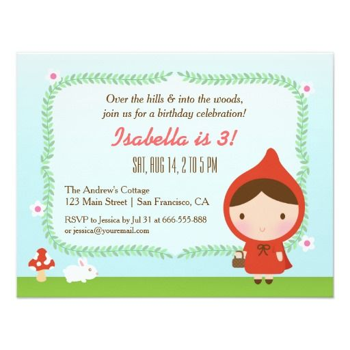 984 best bunny birthday theme images on pinterest bunny birthday cute little red riding hood girl birthday party card stopboris Gallery