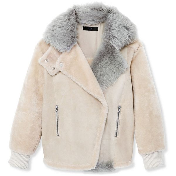 Tibi Shearling Rider Jacket ($2,800) ❤ liked on Polyvore featuring outerwear, jackets, coats, multi, tibi, pink jacket, tibi jacket and shearling jacket