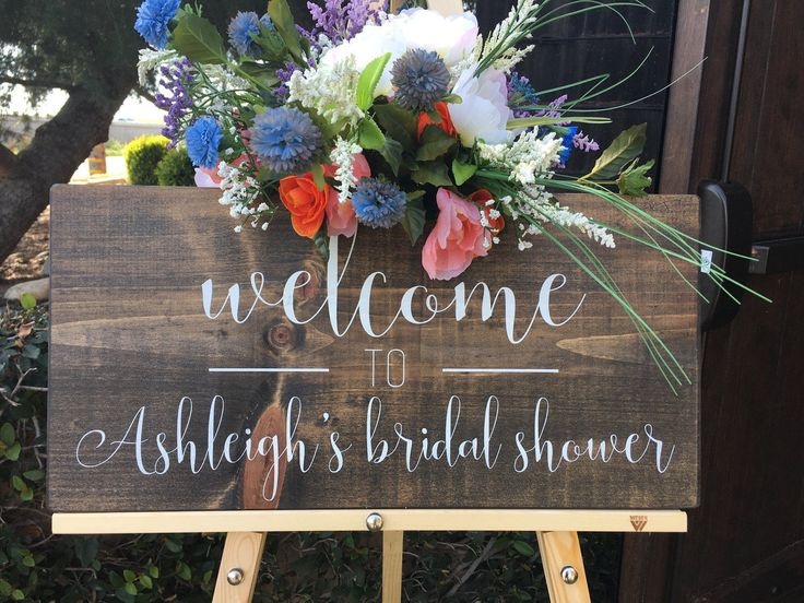 "Bridal Shower Welcome Sign - Wood Signs - Custom Signs - Bridal Shower Decor - Rustic Signs - Welcome Sign - (23"" x 11"") by HouseOfJason on Etsy https://www.etsy.com/listing/509144987/bridal-shower-welcome-sign-wood-signs"