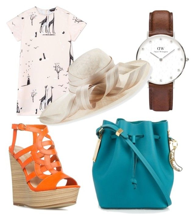 """""""Casual conversation"""" by aleksaaryal on Polyvore featuring Sophie Hulme, Rochas, Daniel Wellington and Philip Treacy"""