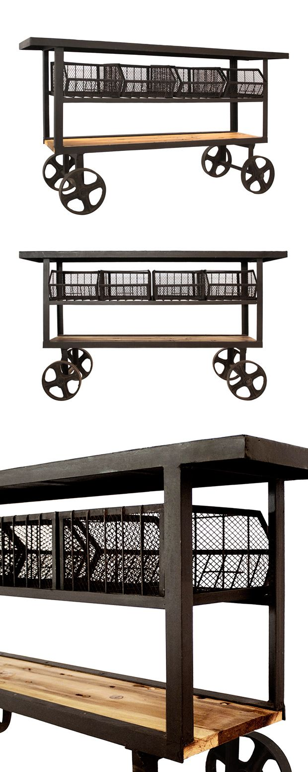 Inspired by old-fashioned railroad carts, this caster-equipped Trolley Console will add a dose of classic character to your home. This retro console features a spacious tabletop, four basket spaces, an... Find the Trolley Console, as seen in the Console Tables Collection at http://dotandbo.com/category/furniture/tables/console-tables?utm_source=pinterest&utm_medium=organic&db_sku=114769