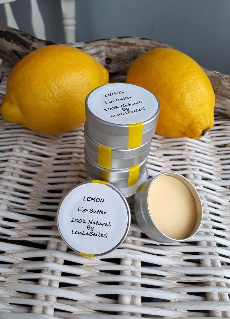 Lip Butter ~ Lemon Lip Balm ~ 100% Natural Ingredients ~ Handmade by LouLaBelleG on Etsy