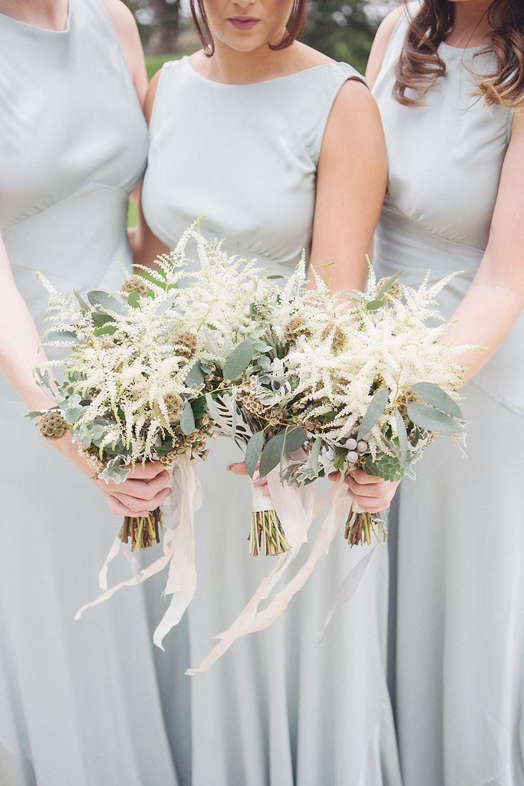 Astilbe Bouquets - David Fielden Bridal Gown | Ghost Bridesmaid Dresses | Wasing Park | Elegant White & Pale Green Rustic Wedding | The Cad & The Dandy Suit | Photography by Julia & You