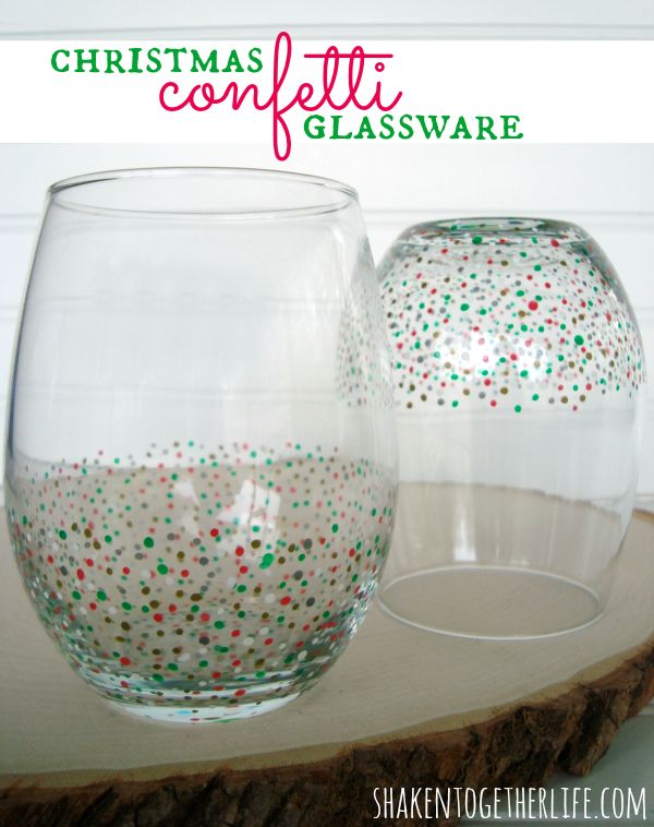 Easy DIY confetti glassware - perfect for gift giving!  Tutorial at shakentogetherlife.com