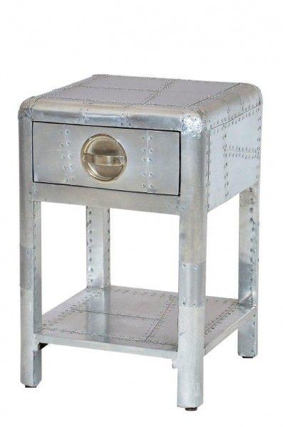 casa padrino luxus aluminium nacht schrank kommode mit schubladen vintage flieger mbel - Schreibtisch Aus Flugzeugflgel
