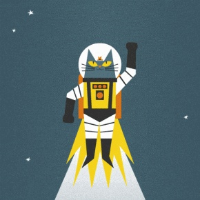 Astro Cat Animation by James Wilson    #cat #art #illustration #animation #gif #space #astronaut