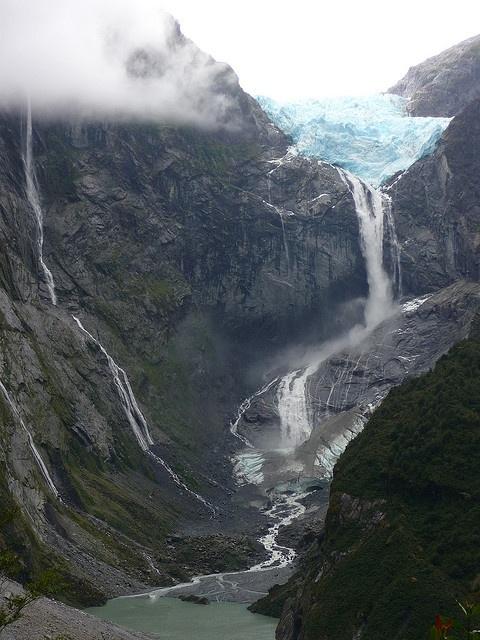 Cascada de Ventisquero Colgante (AKA Hanging Glacier Falls), located in Aisén, Chile