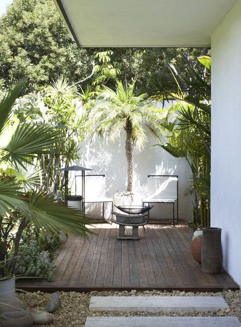 inside outside - white walled and wooden decked garden - planted - photo Minh+Wass