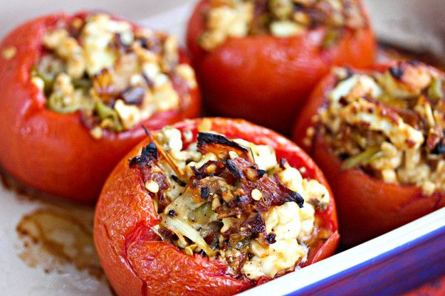 {baked stuffed tomatoes with feta & roasted peppers}