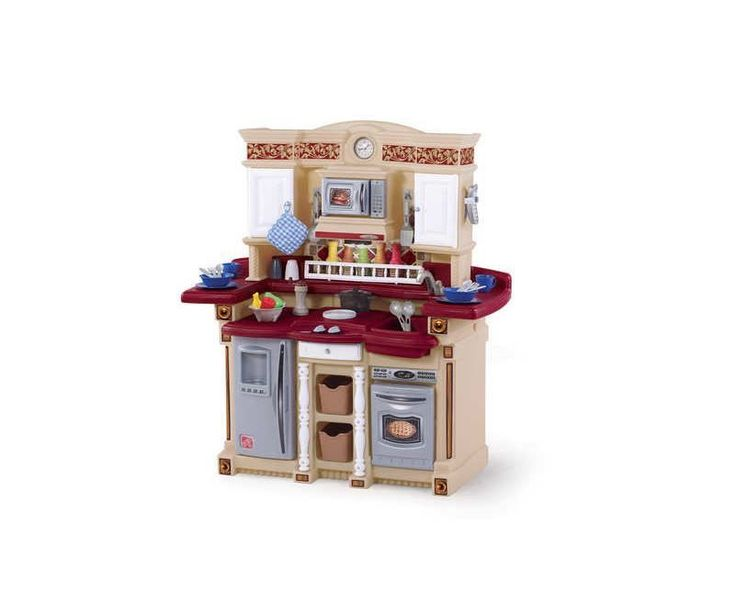 Toddler Kitchen Set Red Electronic Microwave Stove Phone Light Kids Pretend Cook | eBay