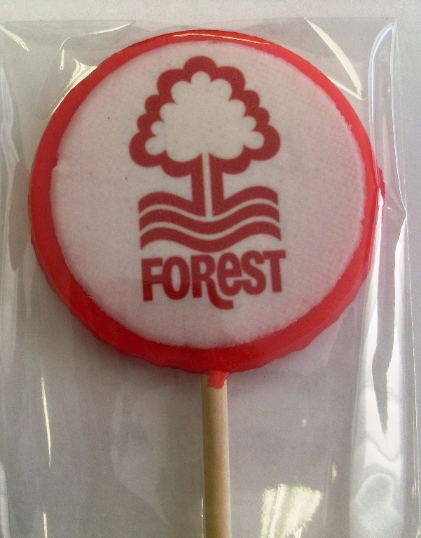 Nottingham Forrest FC promotional business lollies. Rock candy, favours, personalized sweets, sweets, rock sweets, customizable candy, sweet shop, sweetie, bonbonnier, party sweets, hard candy, unique gift, candy buffet, candy table, treats