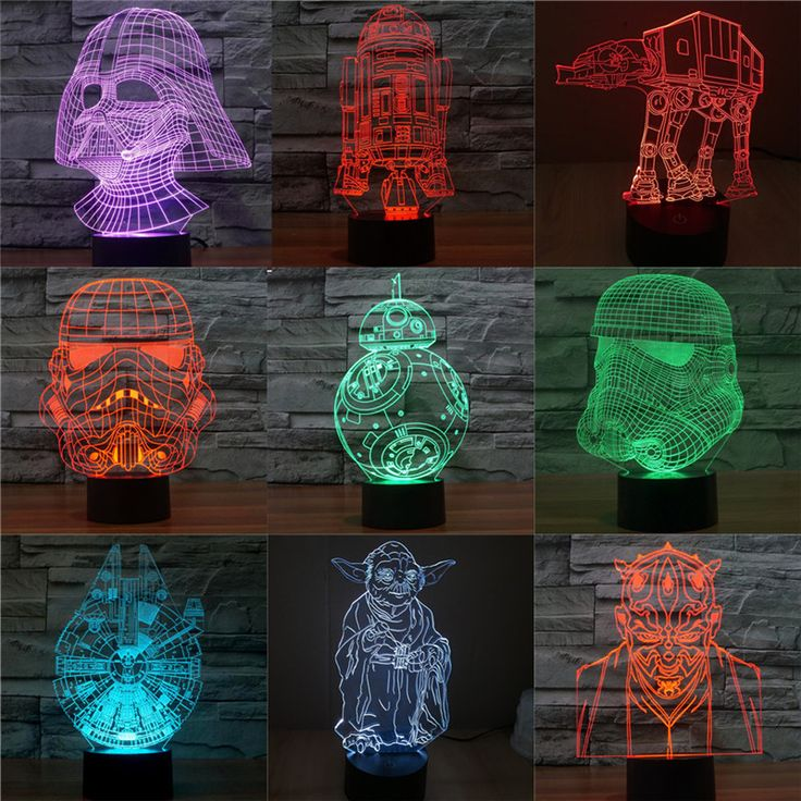 Star Wars 7 color changing visual illusion LED lamp Darth Vader Millennium Falcon toy 3D light lightsaber action figure