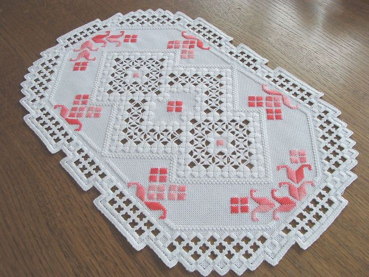 HARDANGER Embroidery - handmade DOILY -clearwhite and variegated pink