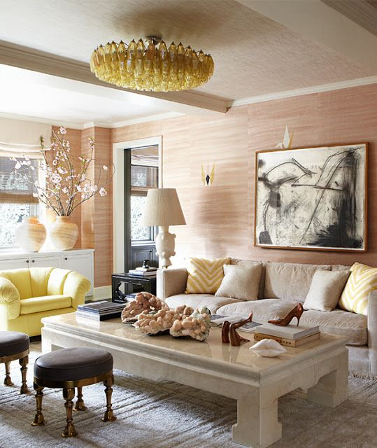 Kelly Wearstler soft coral, linen and yellow living room via SANITY FAIR