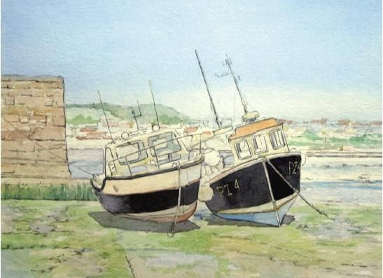 Paint boats in a harbour