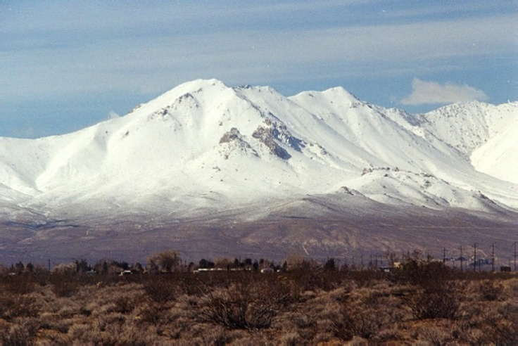 View of the Sierra Nevada mountains from Ridgecrest, California