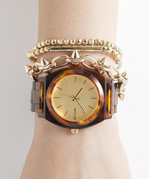 NIXON-WATCH(ニクソンウォッチ)のTHE TIME TELLER ACETATE(腕時計)|ゴールド×ブラウン