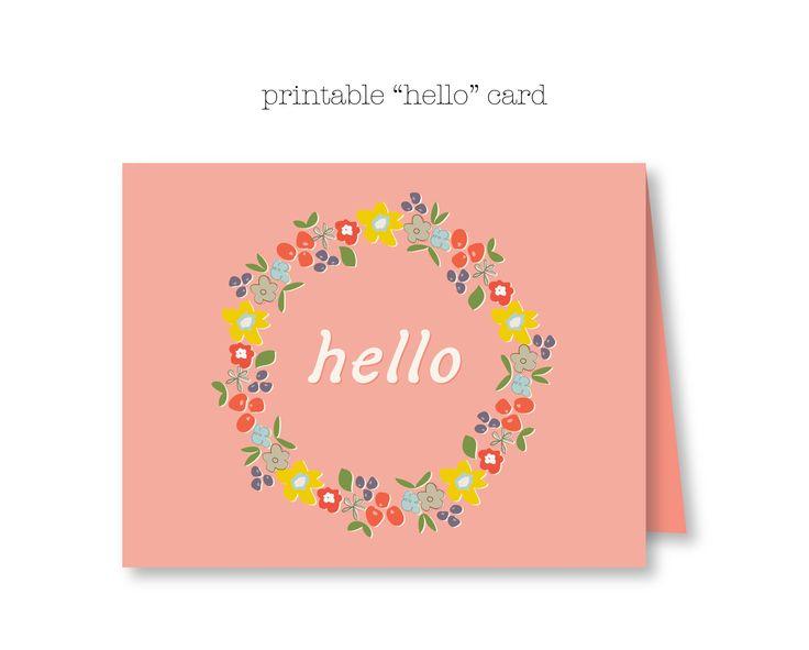 Ordinary Free Card Making Printables Part - 11: Free Printable Hello Card - Adorable Floral Design / Kensie Kate
