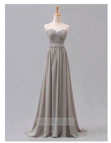 Light Grey Long Prom Dress