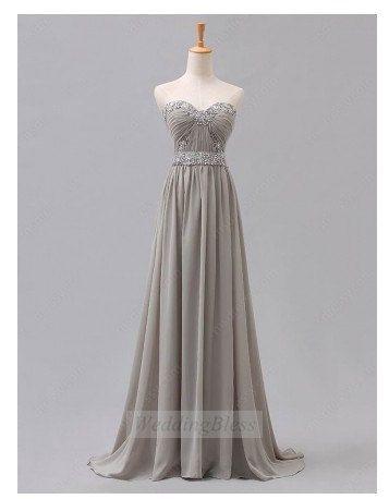Silver Light Grey Long Prom Dress Sweetheart Sequin Chiffon Dresses on Etsy, $118.00