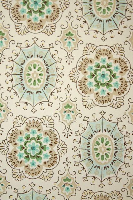 Geometric Vintage Wallpaper - Tan Brown Aqua Blue and White Geometric