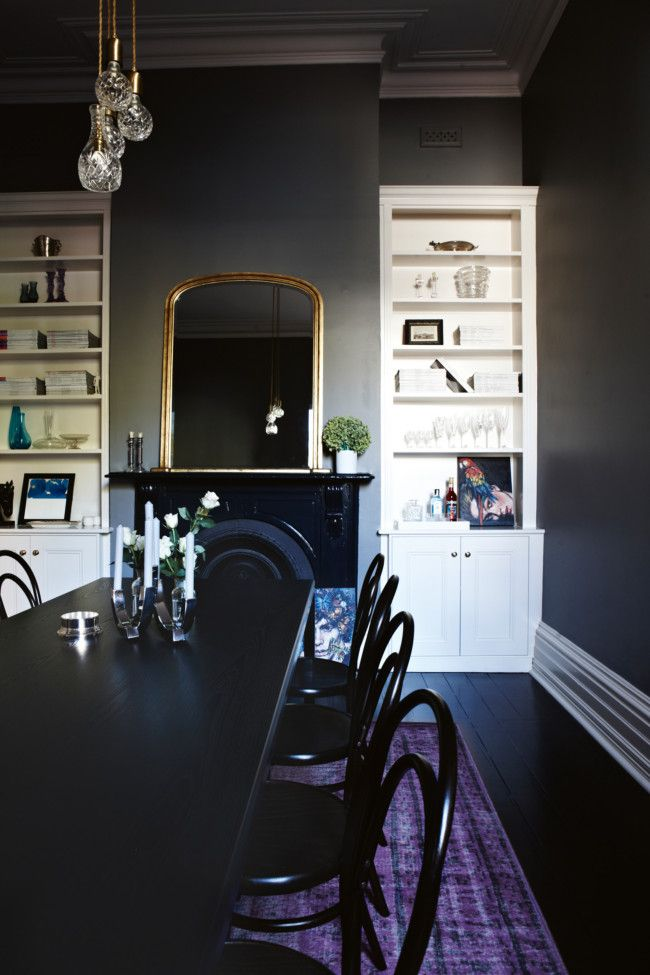 Tour A Victorian Stunner with Approachable Style// casual dining room, black dining room: Dark Interiors, Dining Rooms, Dustjacket Attic, Galleries, Chelsea Hinges, Interiors Design, Vogue Living, Dark Wall, Victorian Terraces House