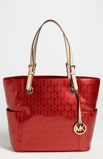 Love!!! Ruby Red-hot! MICHAEL Michael Kors 'Signature' Tote available at #Nordstrom