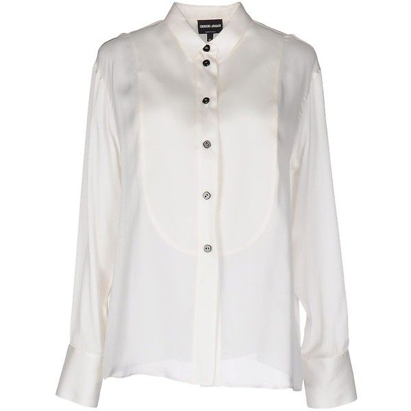 Giorgio Armani Shirt (27.790 RUB) ❤ liked on Polyvore featuring tops, white, extra-long-sleeve shirts, giorgio armani, white top, long sleeve tops and white long sleeve shirt