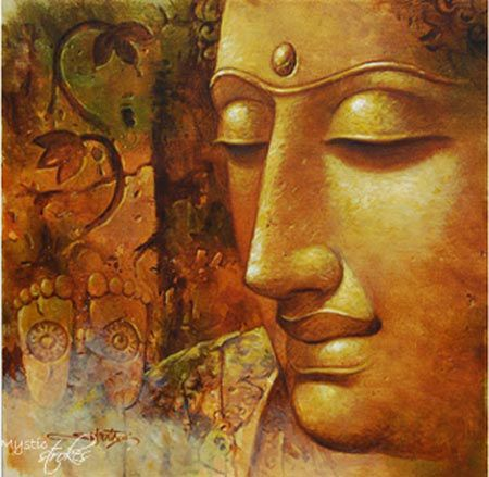 57 best images about abstract on pinterest lord krishna for Buddha mural paintings