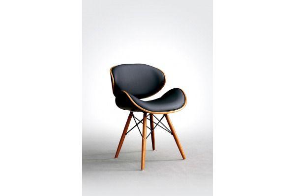 Krzesło Ample czarne skórzane drewniane krzesła designerskie
