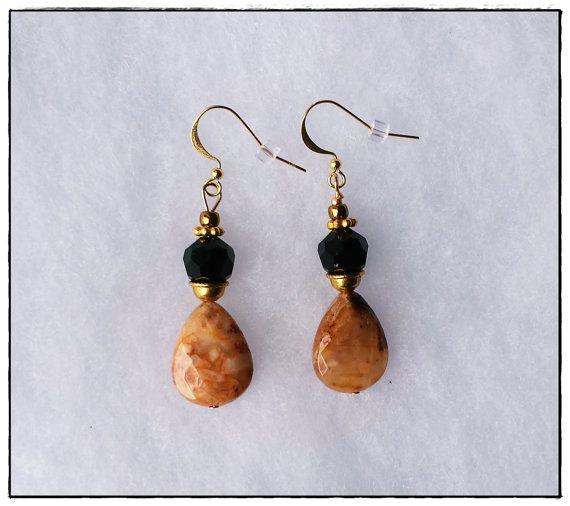 Beige Nude Earrings  Red Aventurine Earrings by AngeleiaDesigns