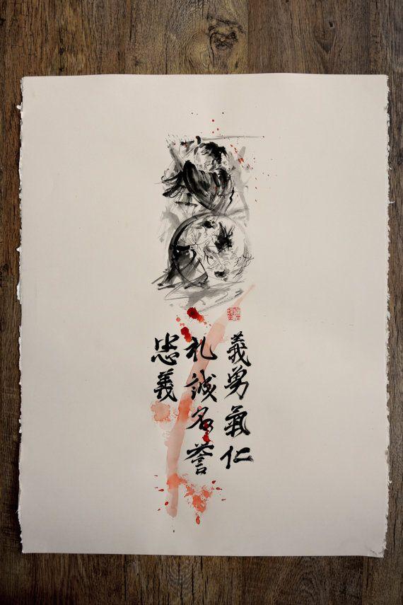 Samurai Seven Virtues of Bushido Original Ink Painting Calligraphy Japanese Warrior Artwork