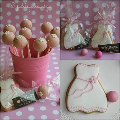 Biscuits and cake pops for a baptism wishes table!