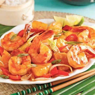 Sauté de crevettes et ananas à la thaï - Recettes 5-15 - Recettes express 5/15 - Pratico Pratiques