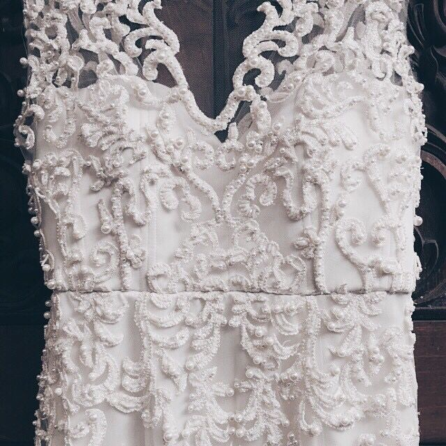 DETAILS | wedding gown: custom made with glorious pearl beade applique. #braidsco