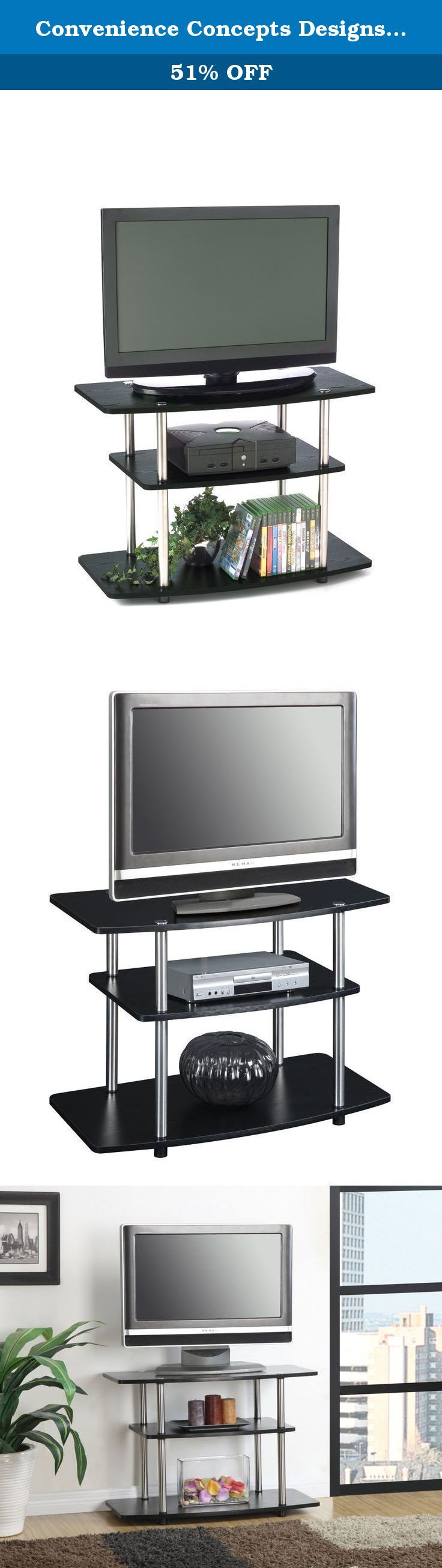 Convenience Concepts Designs2Go 3-Tier TV Stand for Flat Panel Television up to 32-Inch or 80-Pound, Black. The modern design of the TV Stand will complete the look of any contemporary home. The 131020 TV Stand is perfect for all audio and video components. Convenience Concepts brings you exciting and affordable furniture. Combining exciting designs with economical overseas manufacturing to bring you the finest in sensible contemporary furniture. Focusing on R-T-A Entertainment, TV…