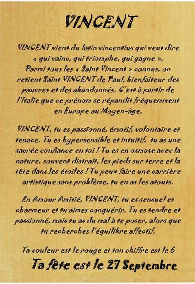 Etymologie prénom Vincent fête le 27 septembre
