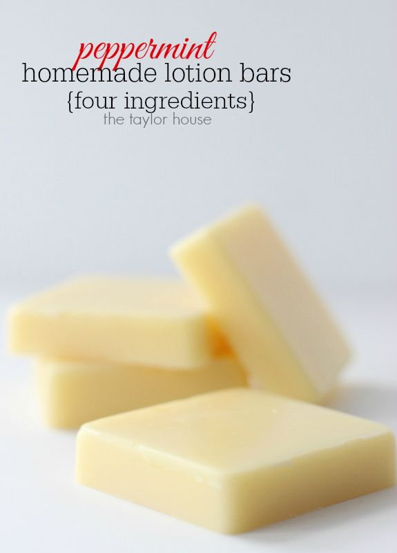 Peppermint Homemade Lotion Bars that only need FOUR ingredients to make!