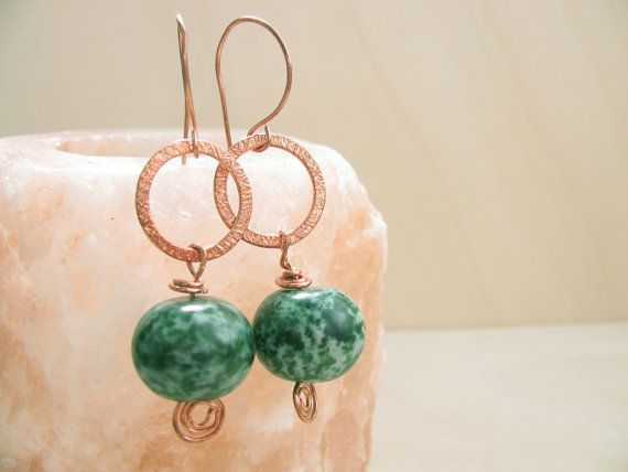 Green and copper earrings Handmade copper earwires