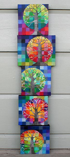 Trees. Paint on small canvases, but they look quilty to me! Tutorial here: http://rettg.blogspot.com/2011/01/tree-grows-and-paper-crane-update.html