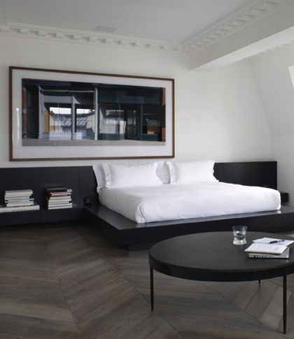 .bed with attached bedside table;; chevron floor; sleek, modern (minus the large moldings) - Dream Homes