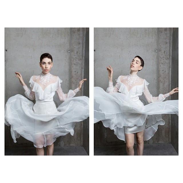 Nora Sarman / Andromeda silk blouse and Andromeda silk skirt / Marie Claire