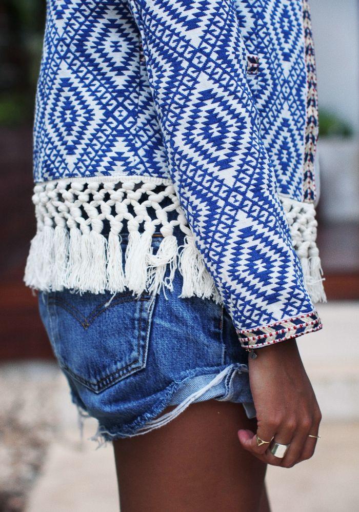 Gorgeous detailed blue and white embellished jacket. Summer fringe.