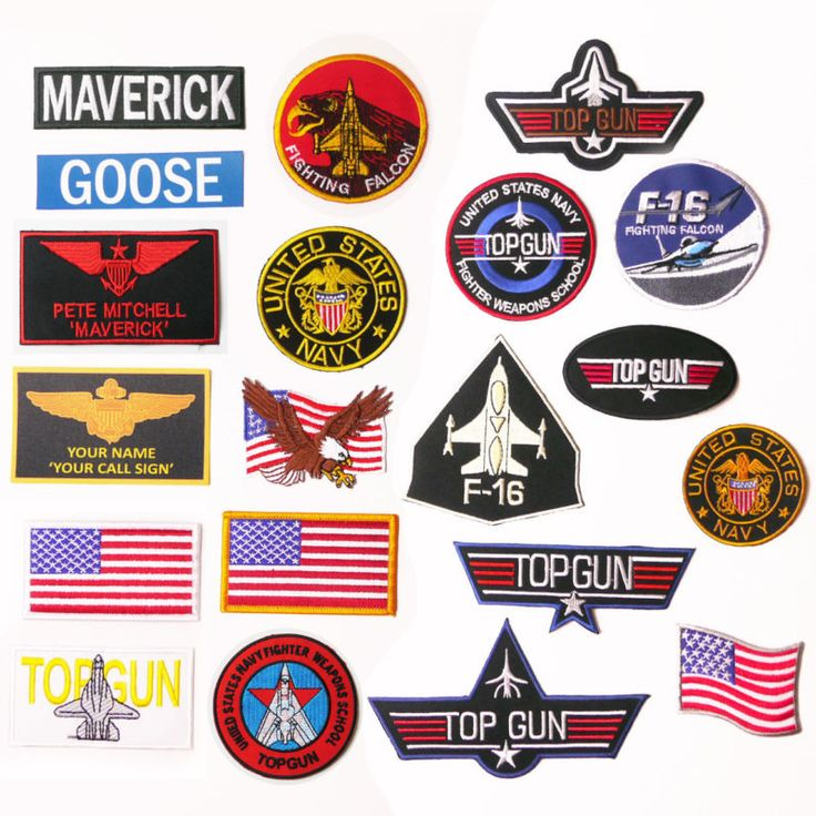 """TOP GUN """"Maverick"""" Custom Costume Naval Movie Patch, Embroidered Iron-On / Names                                                                                                                                                                                 More"""